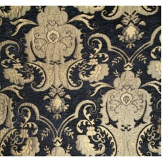 Chenille Renaissance Home Decor Upholstery,Color Black/Gold,  Sold By the Yard